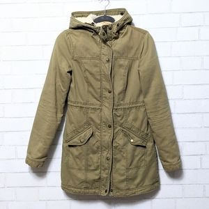 Hollister Faux Sherpa Lined Hooded Long Coat XS